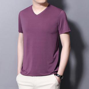 冰丝男士t恤v领男短袖薄款青年修身上衣夏季半袖t恤舒适休闲衣服