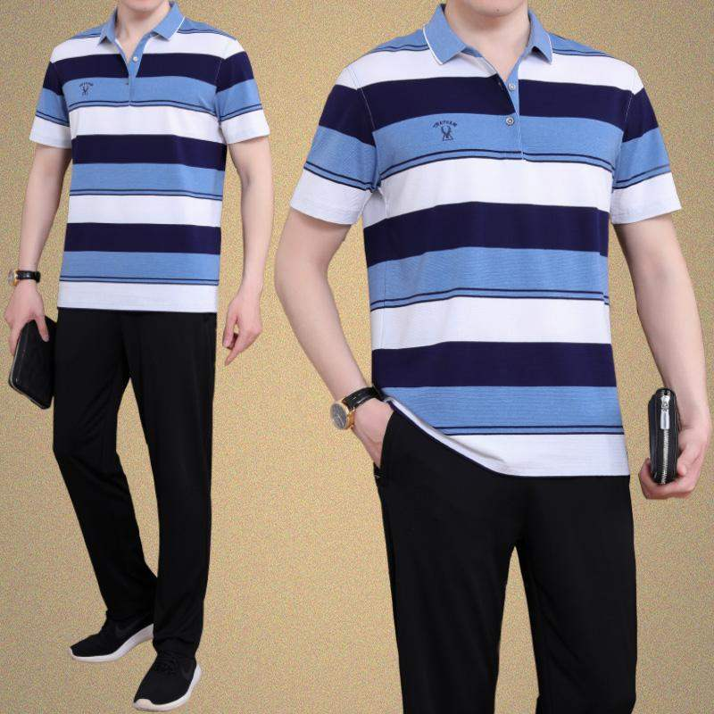 High quality striped short sleeve T-shirt sports suit mens summer dads Lapel shirt mens casual sportswear thin and wide
