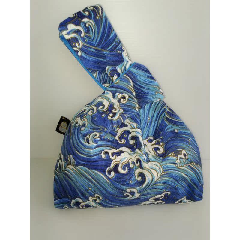 包邮日式和风小包棉麻套结手腕袋方便遛弯手挽手提袋经典百搭印花