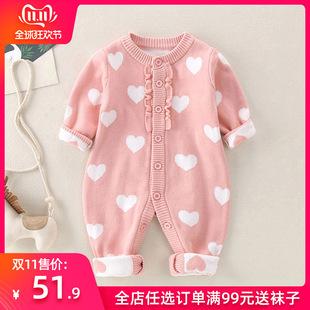 3双层加厚手工开衫 6个月女宝宝秋冬装 婴儿毛衣连体衣0 衣服 针织衫
