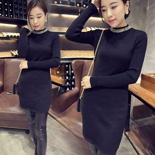 香港时尚2020秋冬新领口镶钻钉珠针织连衣裙女中长款打底毛衣裙