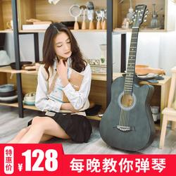 正品復古民謠吉他38寸初學者學生女男新手入門練習木吉它通用樂