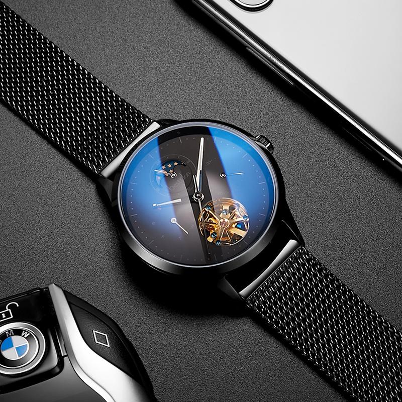 瑞士进口邦顿手表男士机械表全自动蓝光多功能男表精钢带镂空中国
