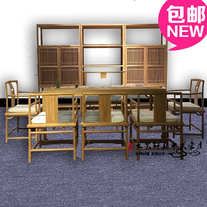 Новый китайский стиль алтарь смысл краски мебель старый вяз чайный стол стул сочетание простой дерево чай комната чай этаж может место мебель