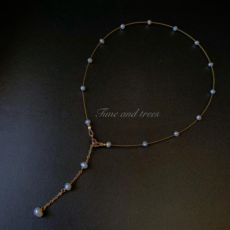 满天星极细项链女简约天然珍珠Y字链吊坠气质锁骨链14K铜镀金颈链
