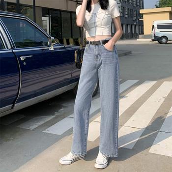高腰垂感宽松2019秋季新款牛仔裤