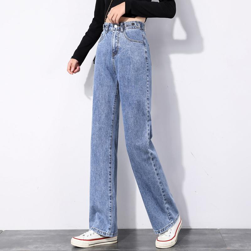 高腰阔腿牛仔裤女宽松显瘦2021春夏新款韩版调节腰围泫雅九分长裤