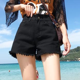 黑色宽松显瘦牛仔短裤女高腰2020新款韩版网红学生毛边阔腿热裤潮