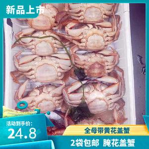 2袋包邮腌制全母花盖蟹满黄丹东特产鲜活花盖蟹梭子蟹卤螃蟹750g