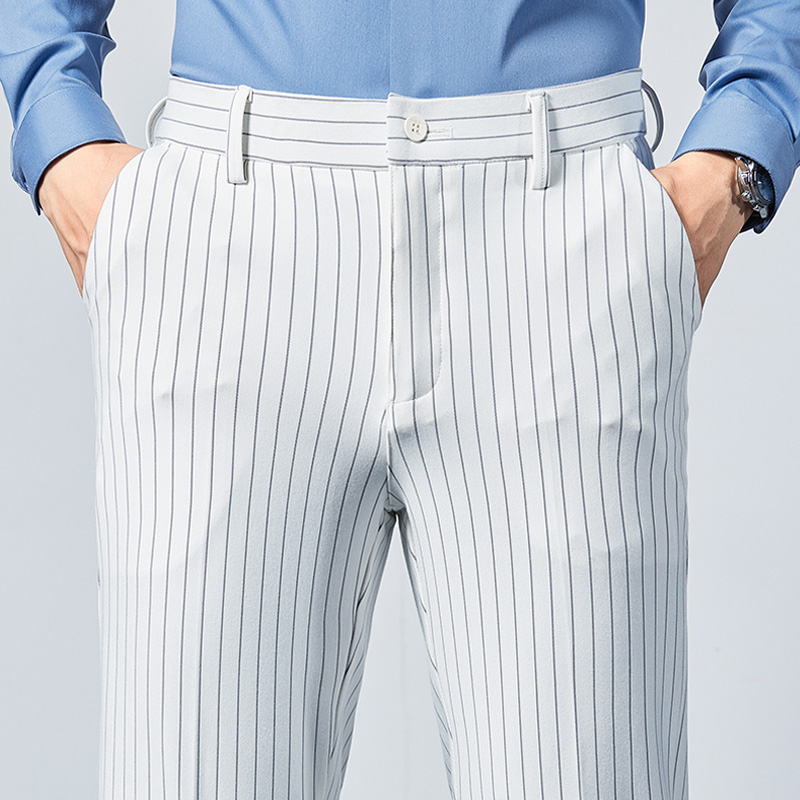 Elastic casual mens Pants Black and white gray stripe youth slim straight business mens pants spring and summer thin Leggings