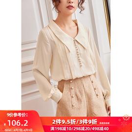 俏里衬衫女2020年春季新款雪纺衫设计感小众复古港味上衣宽松洋气图片
