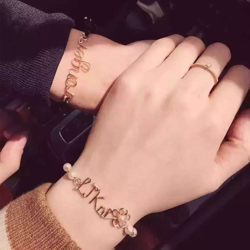 Original high-grade pure handmade jewelry 14K Gold private customized Bracelet female name letter for girlfriend gift students