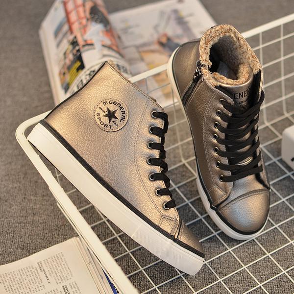 冬季新款高帮棉鞋加厚保暖休闲女鞋韩版侧拉链加绒皮面帆布鞋女潮