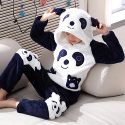 儿童冬季法兰绒男童中大童冬天睡衣