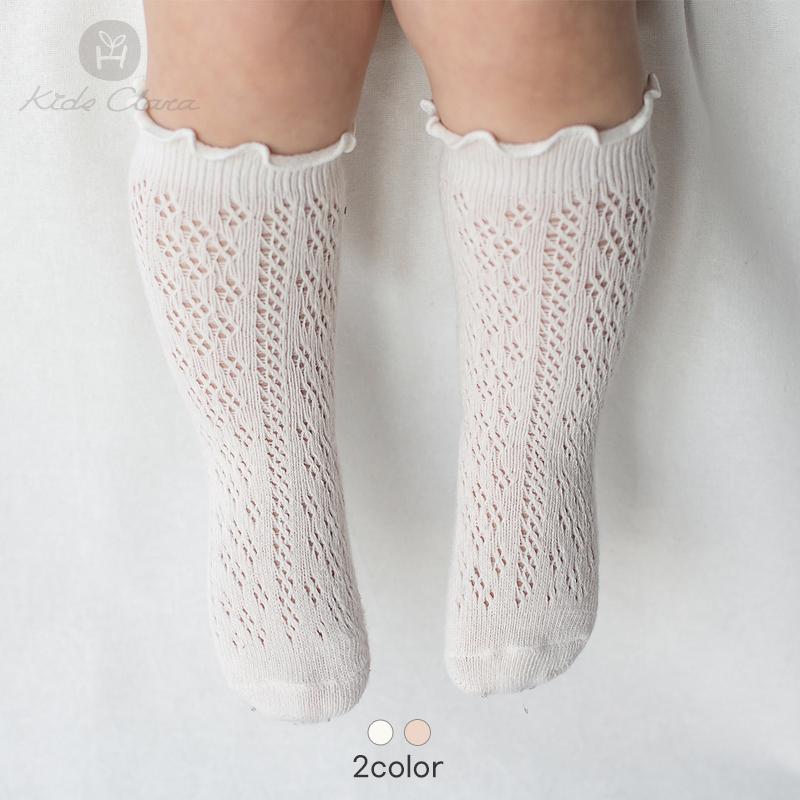 韩国进口婴儿袜子春款宝宝中筒袜纯棉镂空可爱公主风防滑底长筒袜