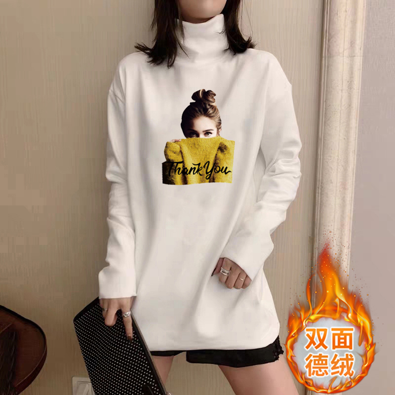 The new half high collar print of de Rong base coat for womens spring and Autumn period with high elasticity and warmth and long sleeve T-shirt for female students