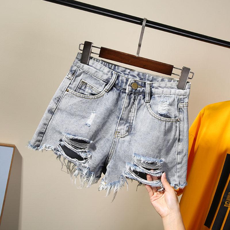 网红牛仔短裤女2020新款直筒高腰外穿显瘦宽松a字潮chic三分热裤