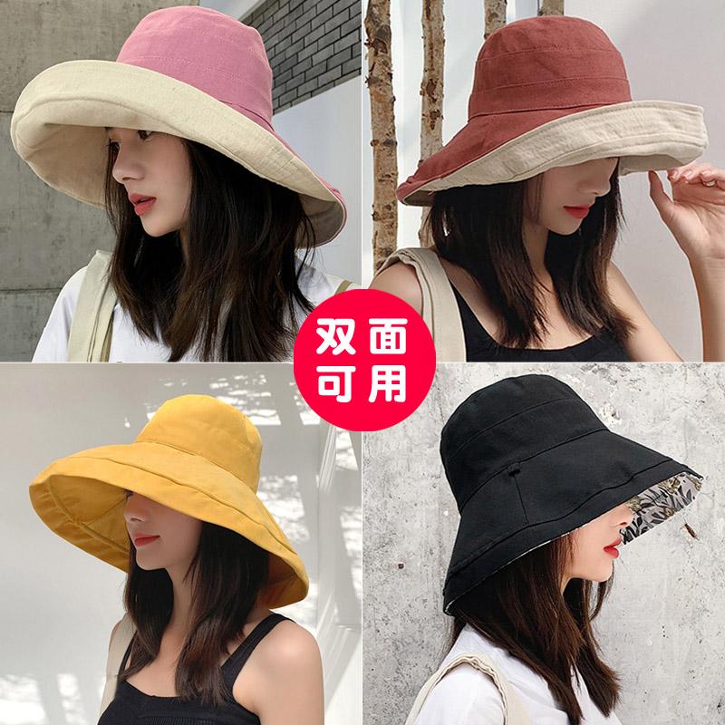 25.00元包邮网红渔夫帽女日系双面韩版遮阳帽子