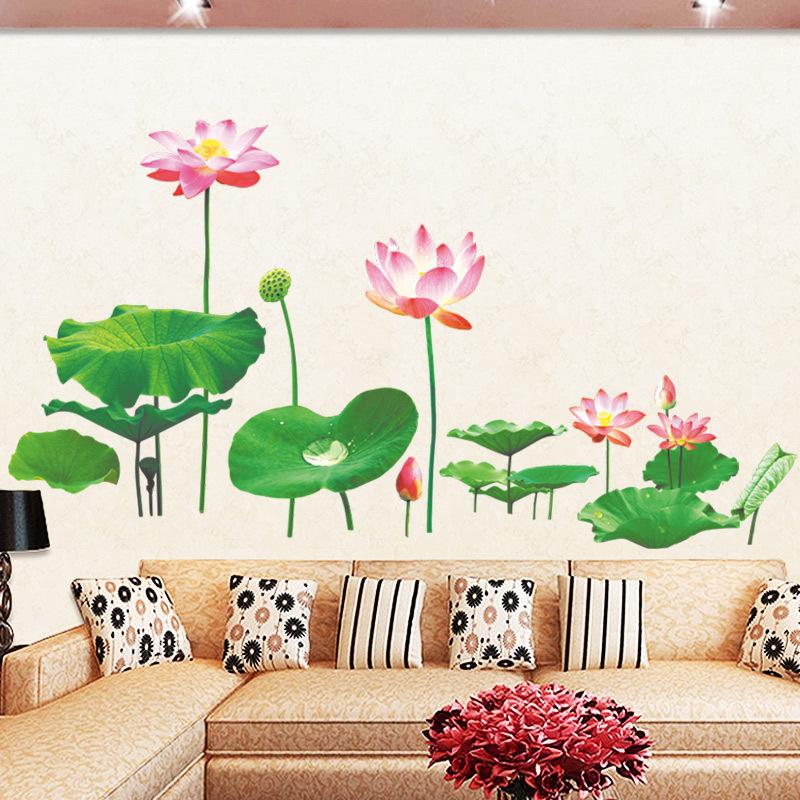 墻貼溫馨立體荷花防水壁紙自粘墻紙臥室客廳背景墻裝飾畫貼畫貼紙