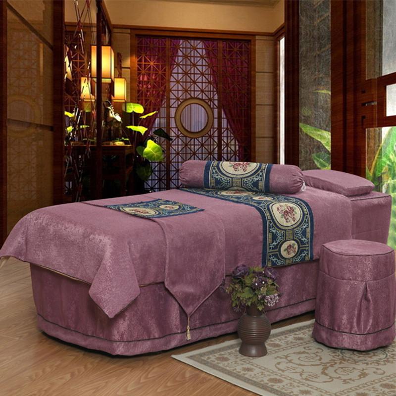 美容床罩四件套欧式加厚全棉会所美容院按摩美体床套定做特价