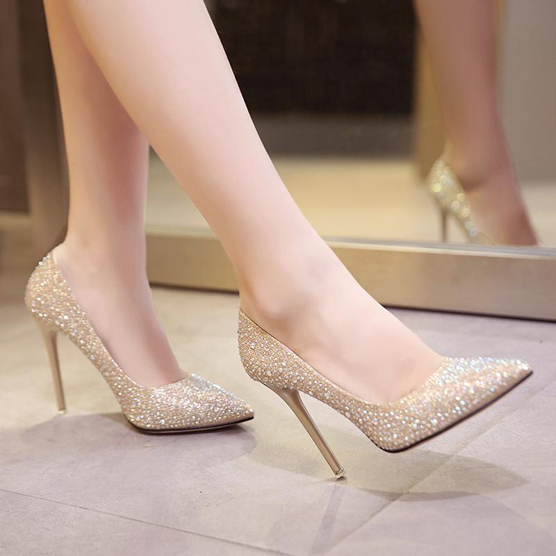 水晶婚鞋网红法式少女高跟鞋女性感细跟婚纱伴娘尖头亮片单鞋银色图片