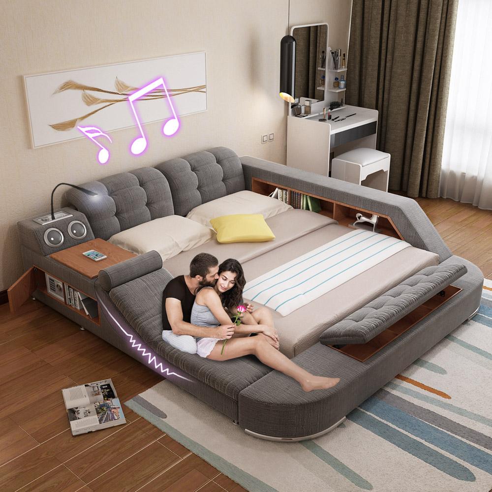 Массаж ткань кровать татами кровать ткань кровать мягкий кровать двуспальная кровать 1.8 мидо функция брак кровать современный простой господь ложь