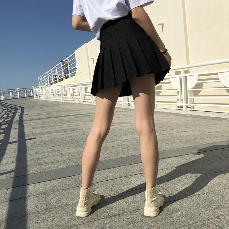 高腰百褶裙女秋冬黑白色大码半身裙夏外穿a字显瘦防走光小短裙裤