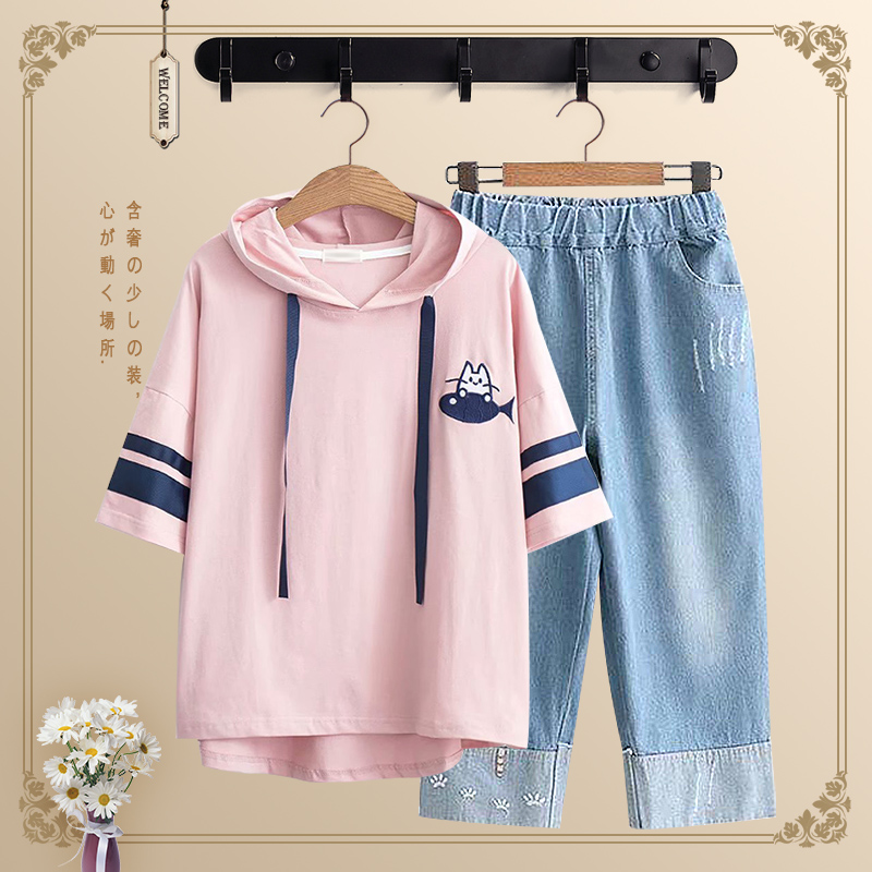 Summer junior high school students female loose middle school students short sleeve T-shirt senior high school half sleeve 12-15 year old children's suit student women's wear