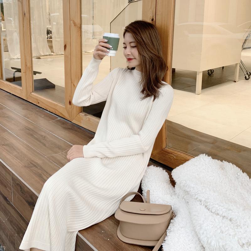 2018冬季新款女装  百搭显瘦中长款圆领针织连衣裙打底裙