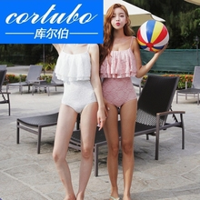 Cortubo big love white swimwear lace one piece swimwear show thin Ruffle swimwear women's small chest swimwear Jinluo