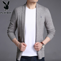 Playboy mens knitwear cardigan Autumn v collar thin sweater Korean plate tide coat sweater slimming Sweater