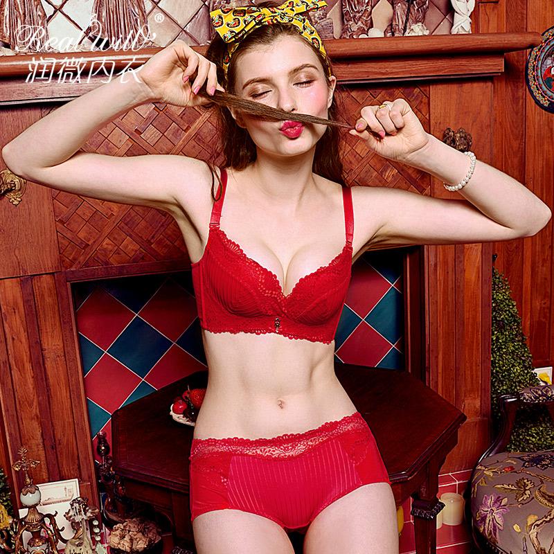 润微文胸套装红色本命年女无钢圈蕾丝收副乳性感聚拢上托内衣结婚