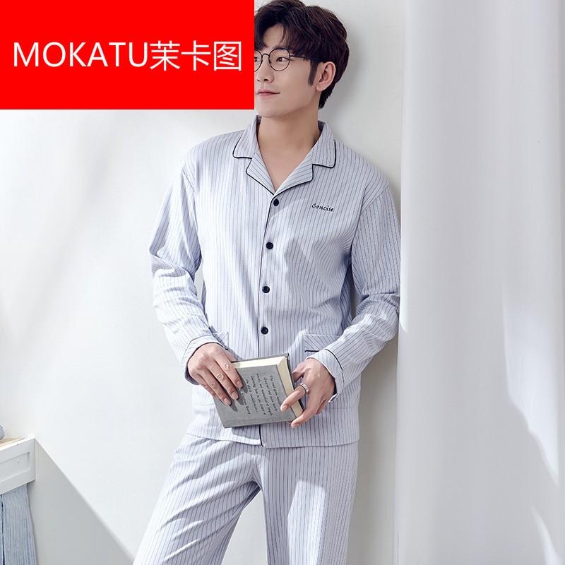MOKATU茉卡图新品睡衣男纯棉睡衣家居服男士居家服长袖全棉男款套