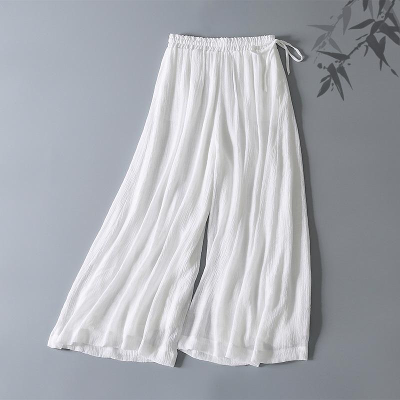 Новая девушка будда смех край алтарь чай китайский ветер чай одежда брюки йога тай-чи брюки свободный жесткая талия широкий нога натуральный шелк хлопок женщина