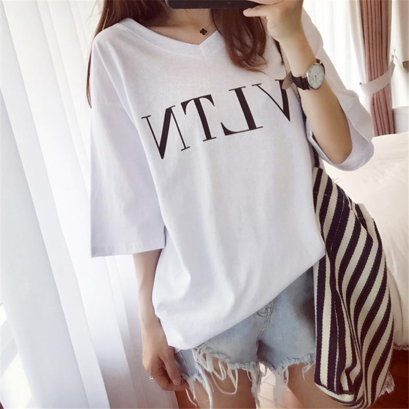 夏裝2019款學院V領純色短袖女T恤黑白體恤甜美打底衫修身百搭上衣