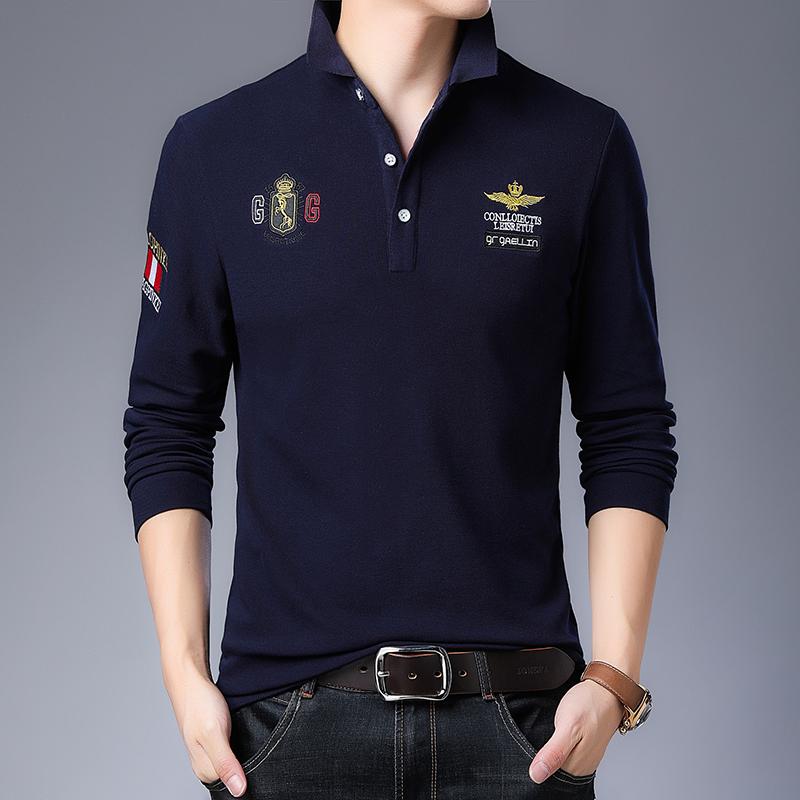 乔诺恩青年春秋男士时尚套头长袖polo衫长袖T恤时尚绣花潮韩版风