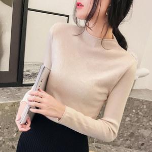 2019秋冬新款半高領修身緊身針織衫韓版套頭長袖內搭毛衣女打底衫