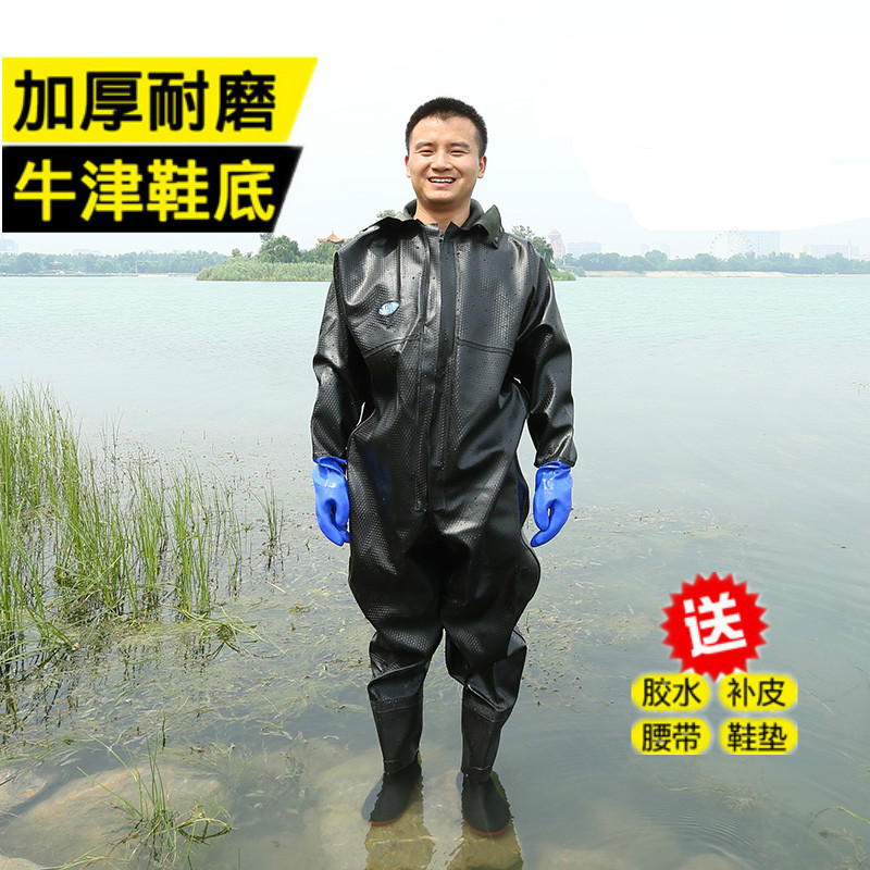 Half length over knee water pants thickened super high tube rain boots waterproof and antiskid rice transplanting boots puff fish wading fishing catch fish pants