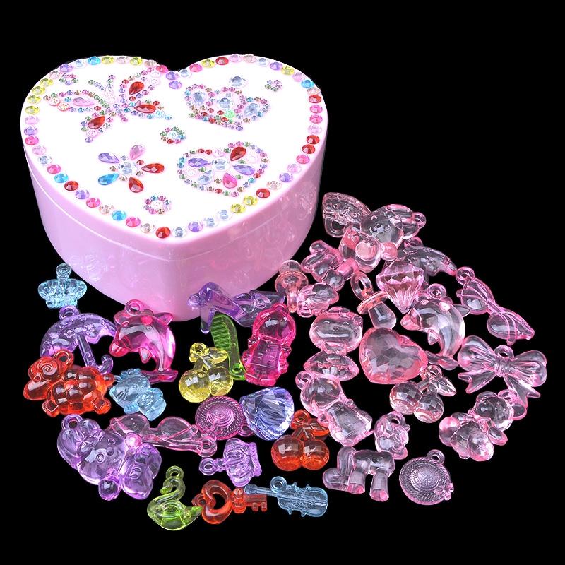 Trẻ em Gem Toy Big Diamond Girl Nhựa Hạt acrylic Pha lê Đá đầy màu sắc Công chúa Cướp biển Kho báu - Handmade / Creative DIY