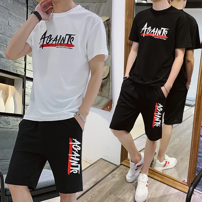 夏季短袖套装男士休闲运动两件套韩版潮流宽松t恤ins潮牌夏装一套图片
