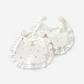 童泰新款新生儿口水巾纯棉婴儿绑带围嘴全棉宝宝围兜 两个装