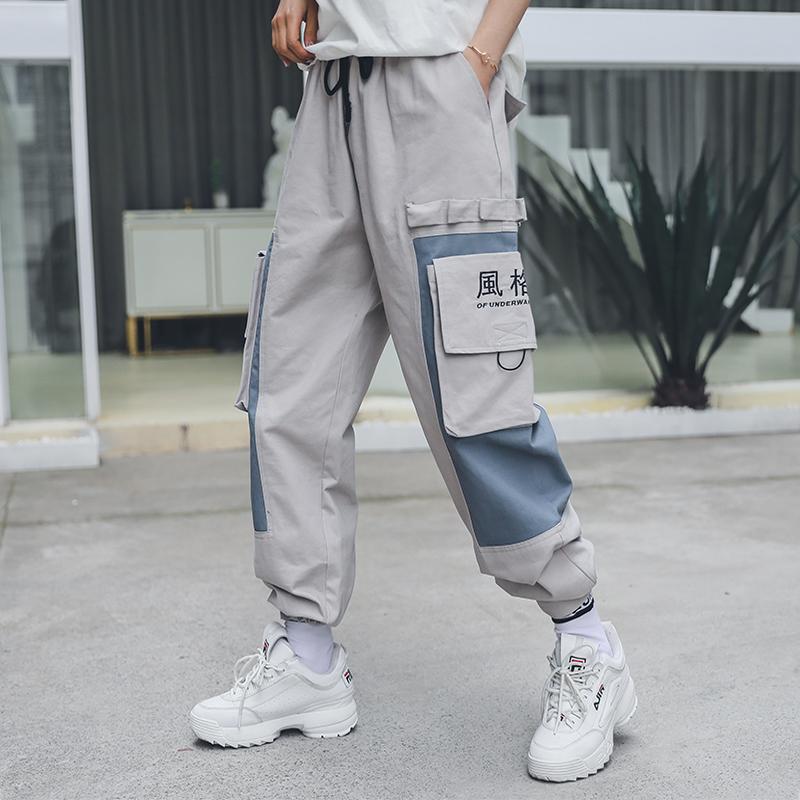 国潮拼接撞色机能风工装裤女宽松bf风2019春秋装hiphop嘻哈束脚裤热销54件不包邮