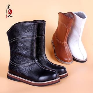 真皮儿童蒙古靴男童女童秋冬蒙古童鞋少数民族日常生活靴子棉鞋