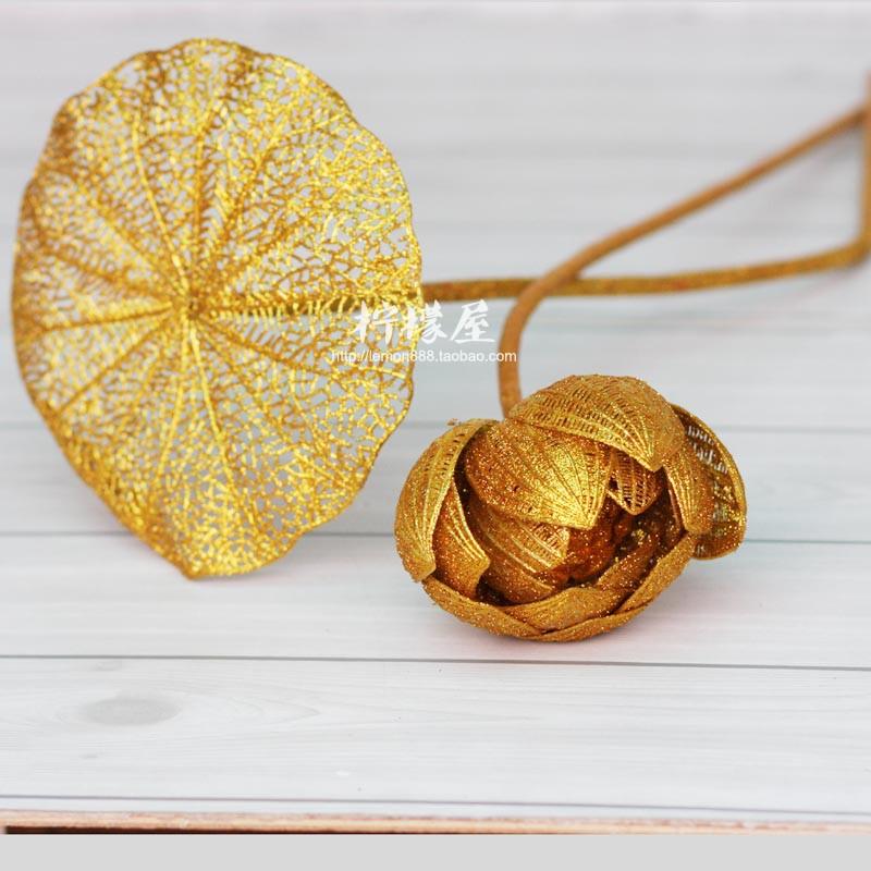 供佛摆放丝网假花落地装饰花仿真荷花荷叶电镀喷金