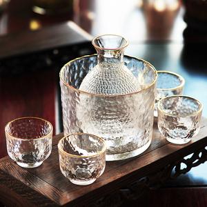 日式清酒壶套装玻璃黄酒温酒器烫酒壶家用一两白酒杯咖啡锤纹金边