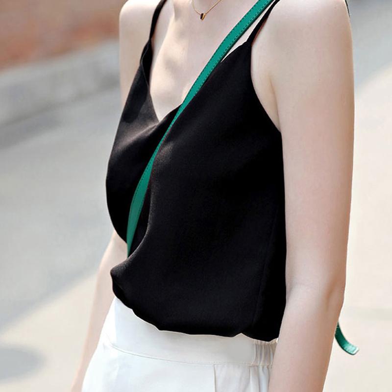 夏季新款无袖V领雪纺背心吊带女短款打底衫百搭上衣宽松大码外穿