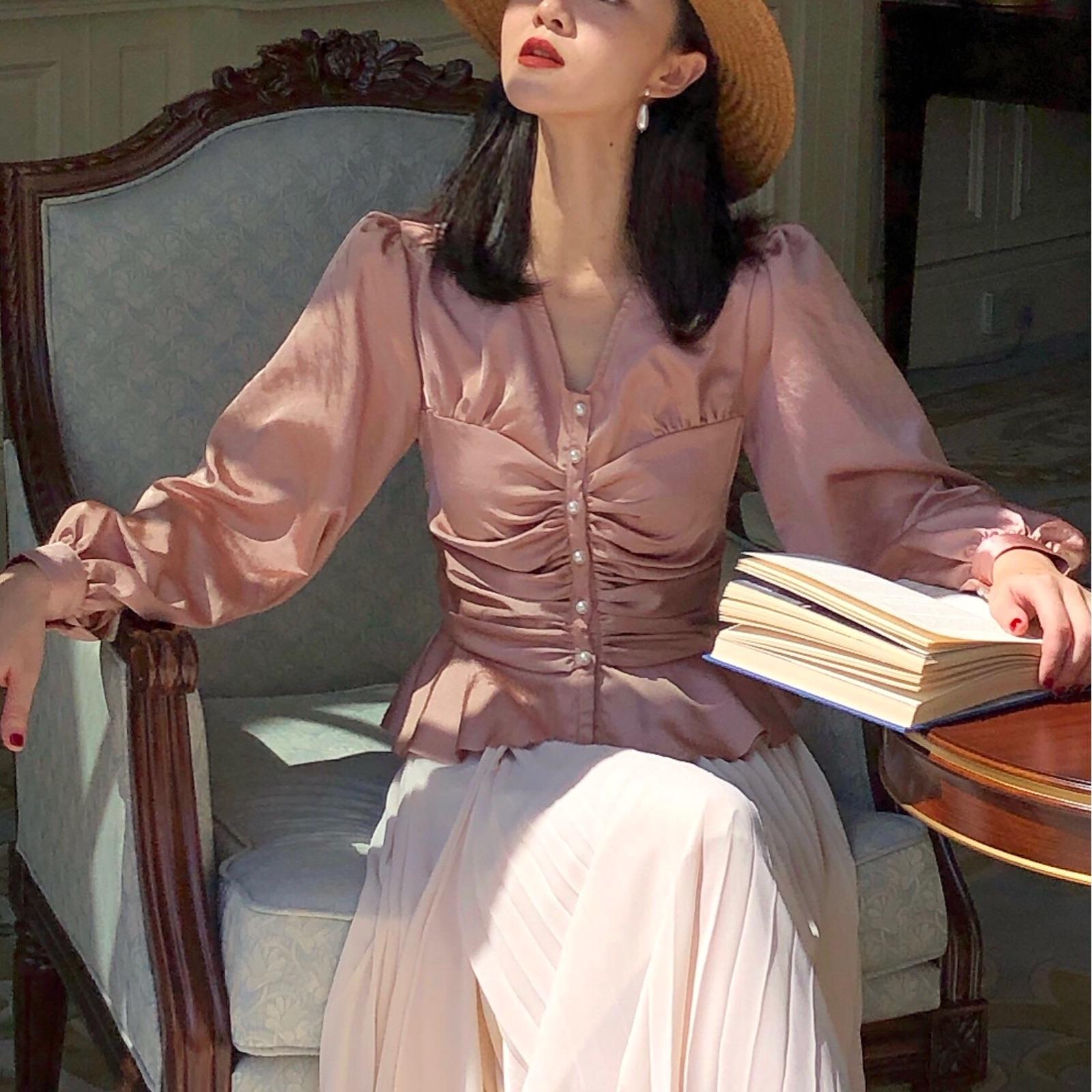 Onepire|RaspberryVelvet|缎面宫廷风收腰上衣女秋衬衫泡泡袖衬衣