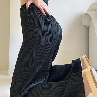 条纹休闲裤直筒薄款阔腿裤子女胖妹妹大码女装2021新款高腰夏季
