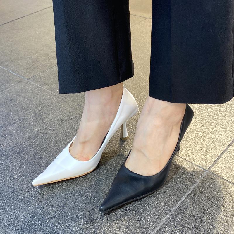 首尔留学生韩国新款细跟高跟鞋子2020新尖头浅口OL走秀单鞋女A32