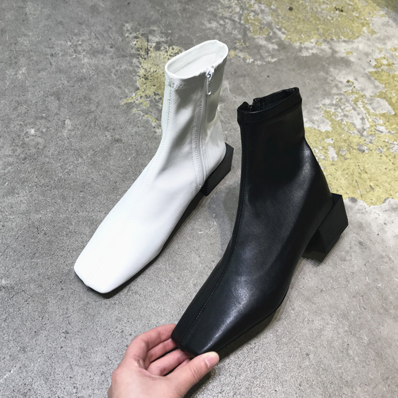 首尔留学生靴子女短靴2019夏末新款方头侧拉链粗跟秋季单靴ins潮